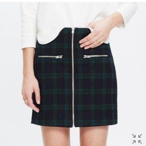 Madewell Tartan Plaid Wool Zipper Mini Skirt